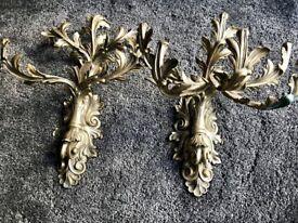 A Pair of Antique, Gilt-Brass Six-Light Wall Sconces