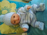 "BRAND NEW HAND KNITTED CLOTHES FOR BABY BORN OR a 16""/17"" DOLL IN BLUE"
