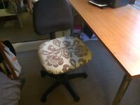 Swivel desk chair with lovely, unusual, damask seat