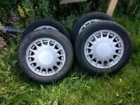 Saab 900 Classic Alloys Wheels Sunburst - 4x good tyres