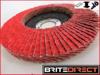 Box of 10 CERAMIC Flap Disc wheels 125 Steel Wood Cast Iron Sander High Quality Gringer Proffesional