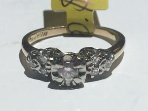 #152 14-18K LADIES YELLOW & WHITE GOLD DIAMOND ENGAGEMENT RING *SIZE 5 1/4* JUST BACK FROM APPRAISAL AT $1750.00
