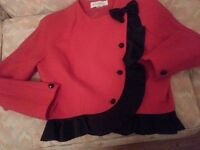 Beautiful Peter Barron vintage red wool crepe skirt and jacket with black trim. As new. Size 14.