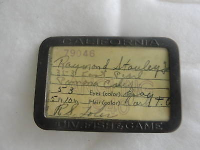 used and signed CALIFORNIA 1940 DIV.FISH & GAME ANGLING LICENSE & HOLDER