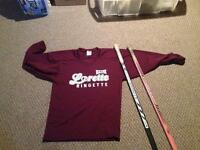 Ringette jersey, sweater and sticks