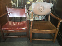 Nice Pair of Rustic Antique Oak & Leather Fireside Armchairs