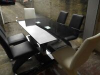 table with 6 chairs leather versace style