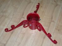 sparkly red wrought iron Christmas tree stand