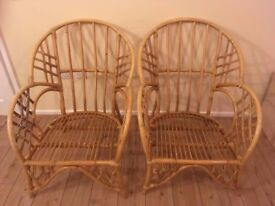 TWO CANE/BAMBOO CONSERVATORY CHAIRS