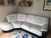 White leather left hand facing corner unit sofa