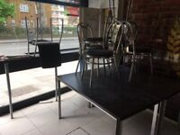 Modern set of Table and Chairs Takeaway Cafe Restaurant Sleek Modern Colourful Functional