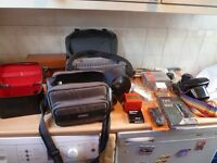 Assorted camera bags and cases with Practika MTL3 35mm SLR and accessories