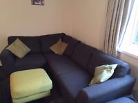 Harveys Charcoal Corner Sofa and Lime Stool For Sale