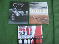 Three Hardback Books in Colour: Classic Cars, Spitfire and 50 Famous British Locomotives: £4.00 EACH