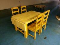 Solid oak extendable dining table and 4 oak chairs ( item 9 )