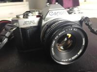 CANON AV-1 SLR CAMERA & CANON FD 50mm F1.8 LENS