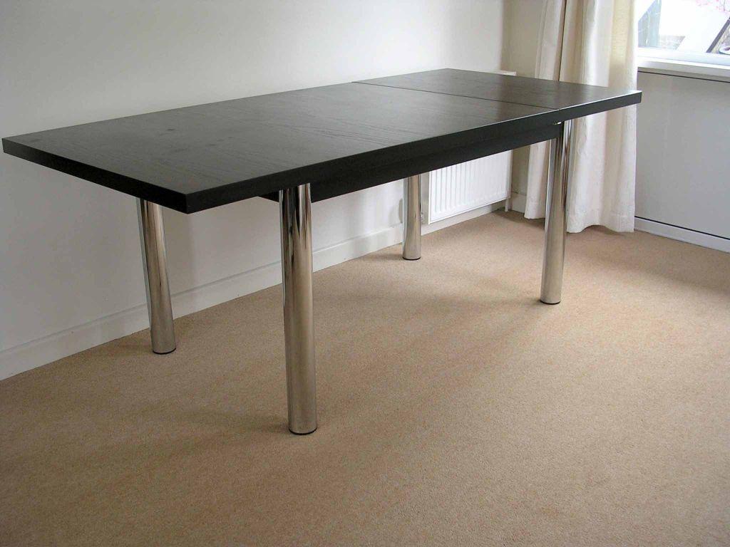 Black Ash Extending Dining Table Modern Large Extending Black Ash