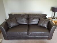 Two M & S Brown Leather 3 Seater Sofas