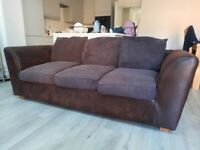 Brown 3 and 2 seater sofas