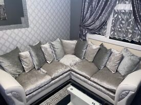 Silver crushed velvet with white