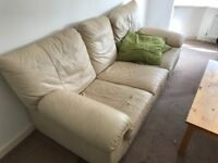Two and three cream seater couches free