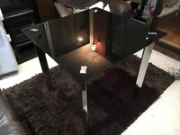 Small Black Glass and Chrome Dining Table - Square: 80cm x 80cm x 75cm (h)