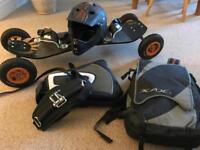 Kiteboarding - RKB R2 All Terrain Board and 4.9m Flexifoil Blade 3 Power Kite, helmet and harness.