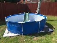 10FT 3 METRE USED CLEAN SWIMMING POOL INTEX WITH FILTER PLUS 6 FT SLIDE, LE3