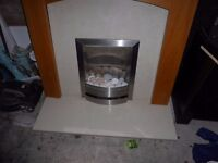 Full fireplace set for sale including flame effect electric fire.