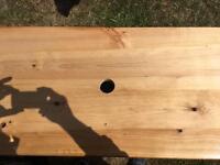 Garden or indoor wooden height adjustable trestle table