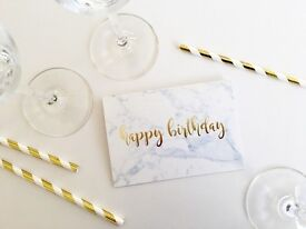 Marble Happy Birthday Cards with Gold Foil Lettering