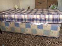 Single divan bed with mattress for sale. In good condition.