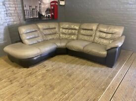 DFS GREY & BLACK REAL LEAHTER CORNER SOFA VERY COMFY GOOD CONDITION CAN DELIVER
