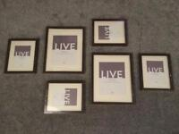 NEW Set of 6 dark wood-effect picture frames with mounts