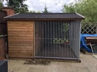 Large Wooden Dog Kennel 10x10'6 (ft) With Metal Bars