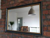 Shabby chic blue and gold bevelled mirror