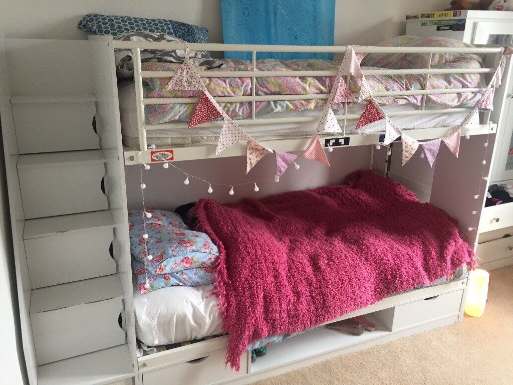 Bunk Beds White Full Size With Steps And Storage Inc 2 New Single