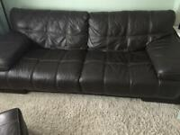 4 seater brown Italian leather sofa and storage seat.