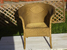 VINTAGE LLOYD LOOM CHAIR WITH WOVEN DESIGN & SEAT METAL CAPPED FEET & ORIGINAL LL LABEL NICE (c1930s