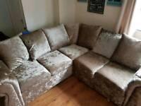 Mink crushed velvet corner sofa