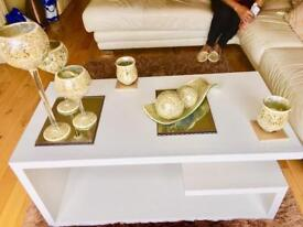 Lovely gold mosaic large candle holders & centrepiece to match with two medium candle holders