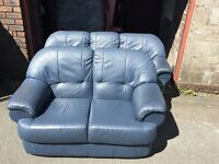 BLUE LEATHER 3 SEATER SOFA WITH 2 SEATER SOFA,CAN DELIVER