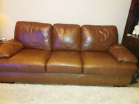2 pc brown leather 3 seater sofa and chair. Buyer to collect. Sheffield S20