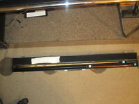 two snooker cues etc.