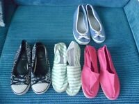Size 6 Shoes Bundle - All Size 6 The pink and Green/white Striped Canvas ones are new