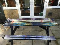 Picnic / garden bench made with skis.