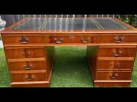 LOVELY GREEN LEATHER TOPPED CAPTAINS DESK