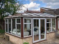 Hardwood framed conservatory, double glazed with aluminium windows and double doors