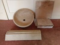 213 x 400mm x 400m travertine tiles , Shower tray , wash bowl, border , mosaic etc never used