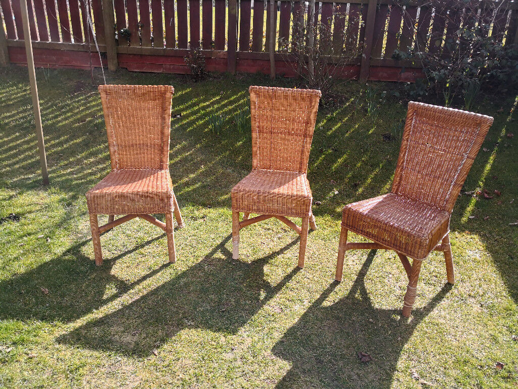 Set of 3 lovely rattan dining chairs from John Lewis. £14 for lot ...